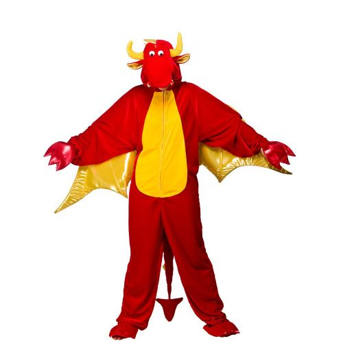 Adults Deluxe Red Dragon Costume for Welsh Wales Animal St George Fancy Dress Adult Dragon